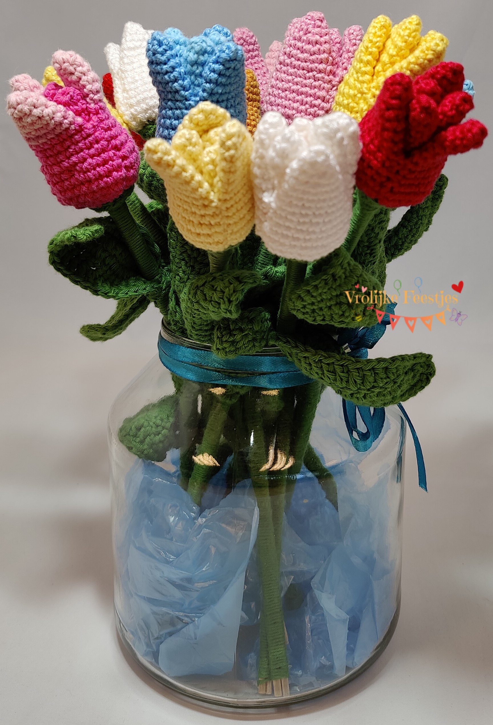Gehaakte tulpen in diverse kleuren